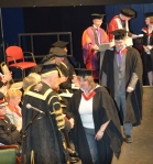 Jane receives her degree from the Duke of Devonshire